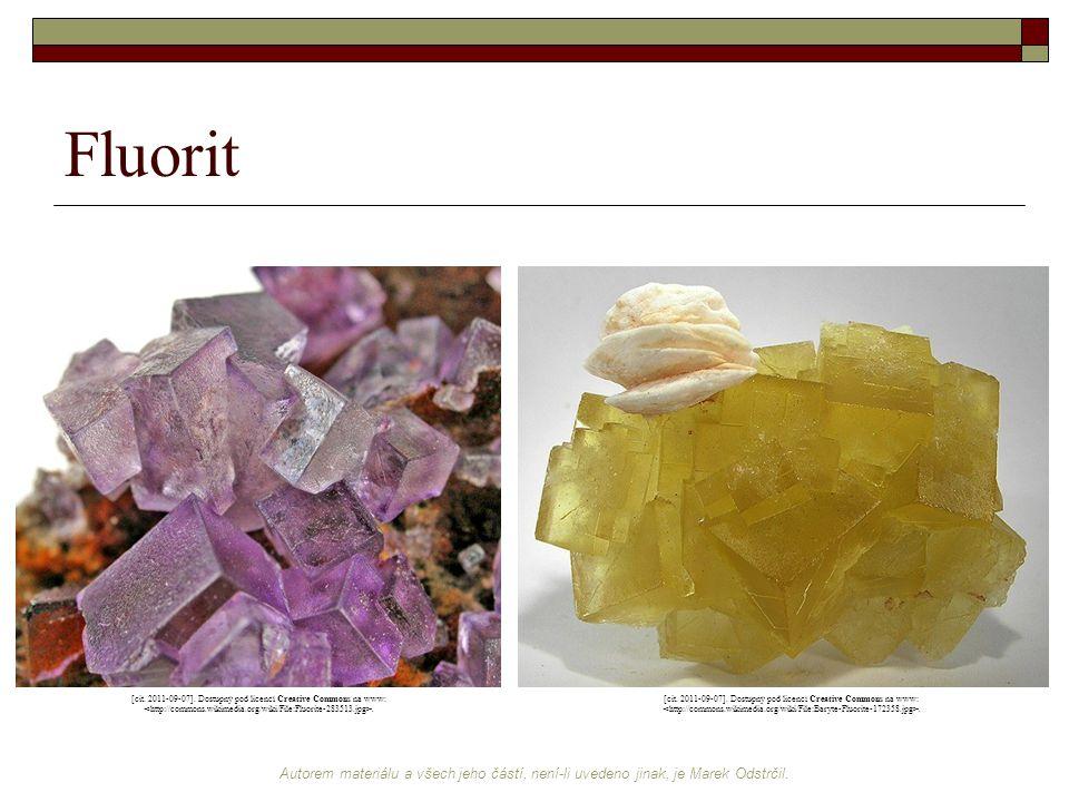 Fluorit [cit. 2011-09-07]. Dostupný pod licencí Creative Commons na www: <http://commons.wikimedia.org/wiki/File:Fluorite-283513.jpg>.